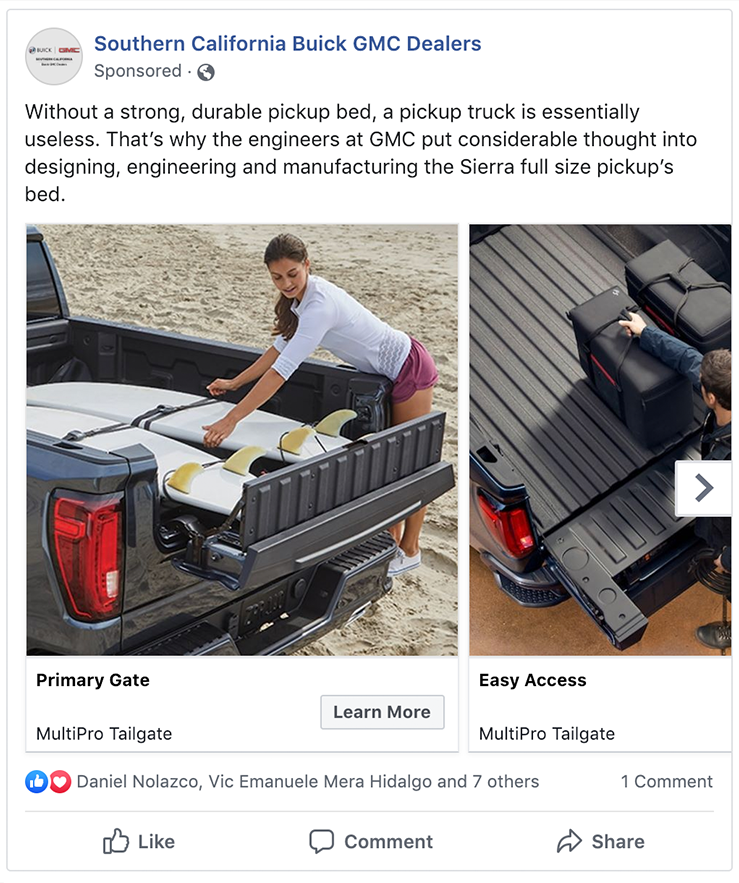 Buick GMC Facebook Carousel Ad